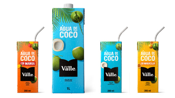 Diferentes embalagens da Del Valle Água de Coco